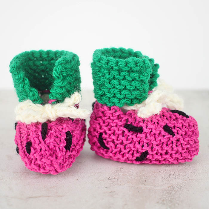 Simple Bootie Knitting Pattern : EASY Watermelon Baby Booties Free Knitting Pattern - Gina Michele