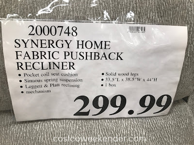 Deal for the Synergy Home Furnishings Fabric Pushback Recliner at Costco