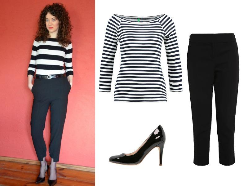 jak się ubrać, black and white, sweter w pasy, stylizacja do pracy
