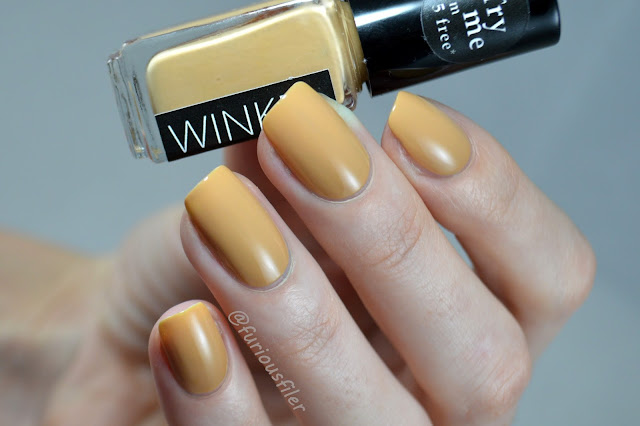 latte winkel nails swatch #102 mustard yellow nails
