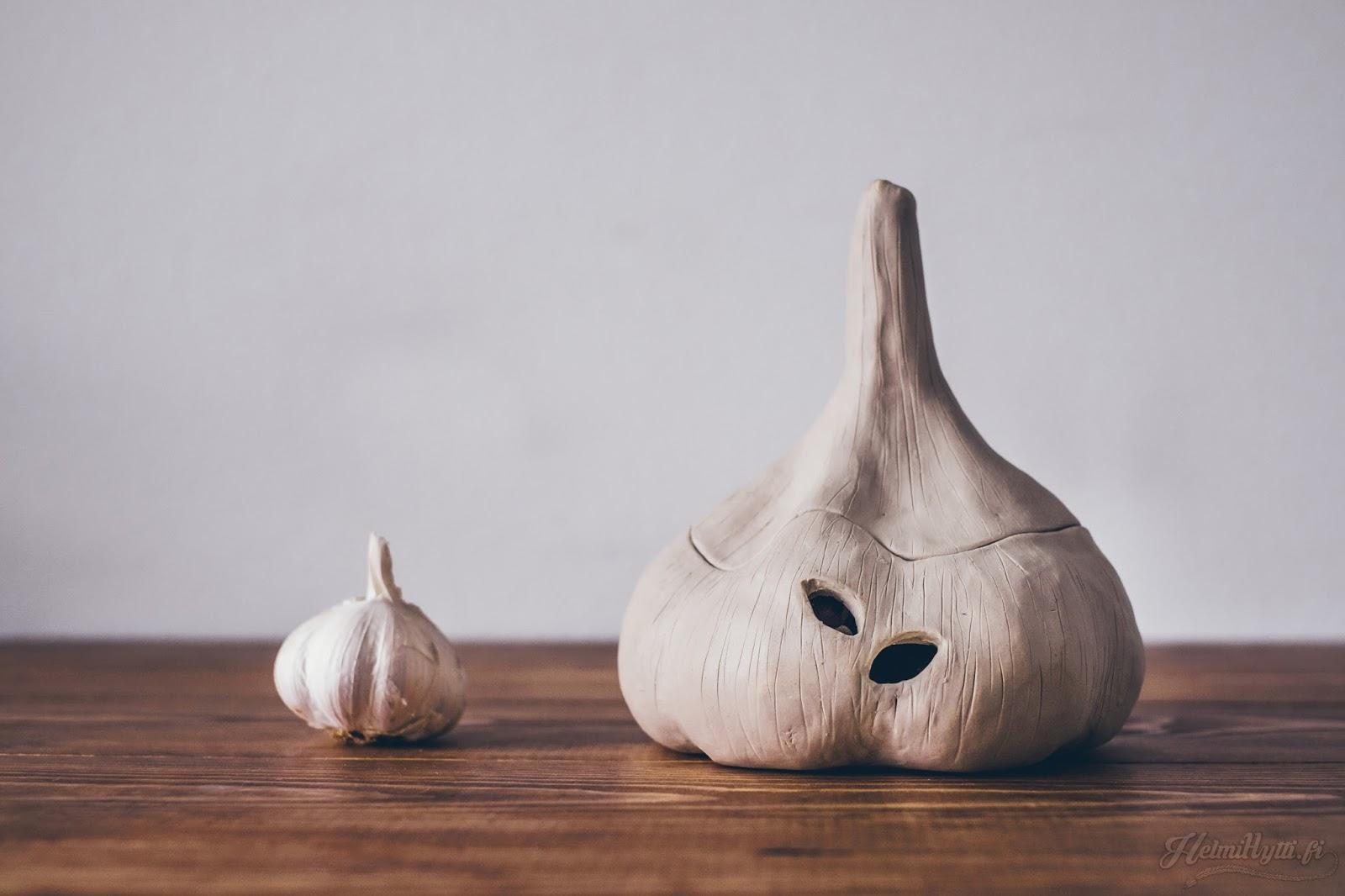 sisustus savityö keramiikka valkosipuli säilytys rasia diy valkosavi