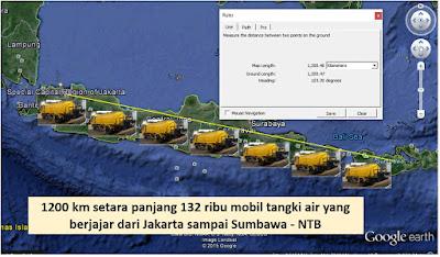 Hujan 1 milimeter yang jatuh di Jakarta volumenya setara  air dalam 132 ribu mobil tangki air