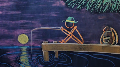 Chalk drawing of man fishing on dock at sunrise