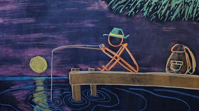 Chalk drawing of man fishing on dock at sunrise