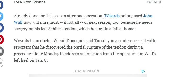 The Mindless Freaks: John WALL tears his Achilles at home