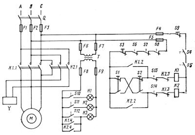 Схема управления асинхронным электродвигателем грузового лифта