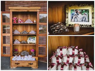 Móveis rústicos na decoração de casamentos: cristaleira como expositor de doces e bem casados