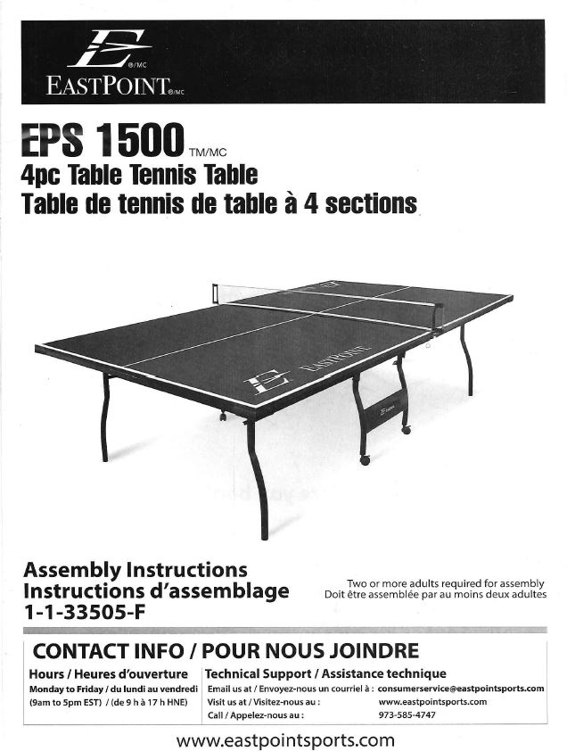 Find Your Manuals Here Eastpoint Table Tennis Table Eps 1500