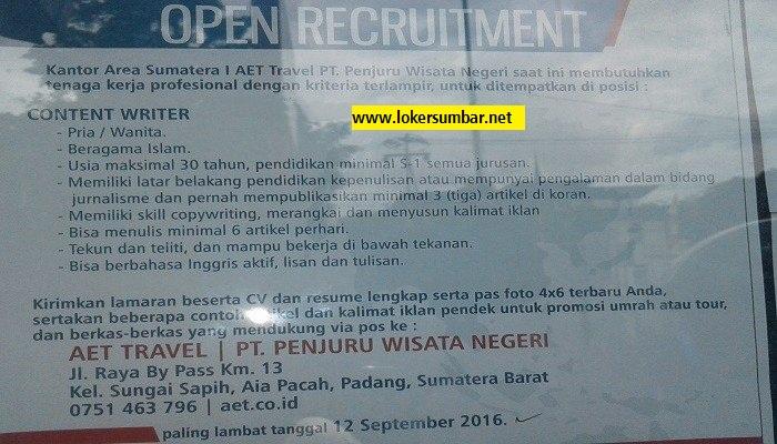 Lowongan Kerja di Padang – AET TRAVEL – Content Writer (Penutupan 12-9-2016)