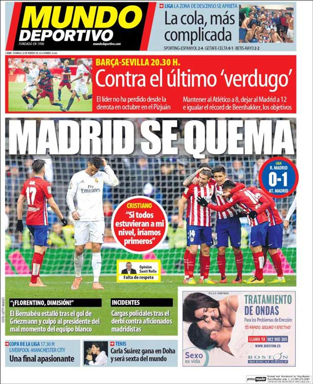 Portada del periódico Mundo Deportivo, domingo 28 de febrero de 2016