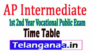 AP Inter (Vocational) 1st 2nd Year Annual Exams Time Table 2017