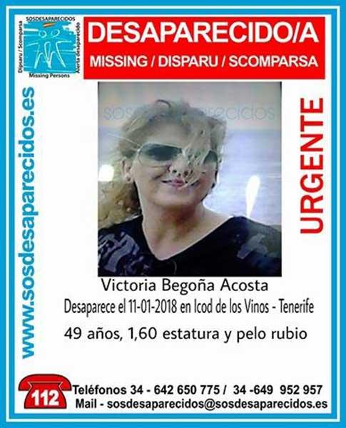 mujer, Victoria Begoña Acosta, desaparecida, Icod de los Vinos, Tenerife