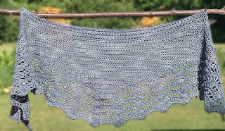 crochet, shawl, short-rows, lace, bottom up