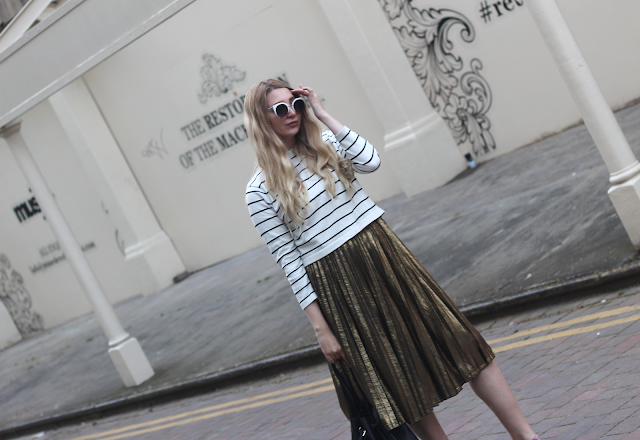 little mistress gold midi skirt