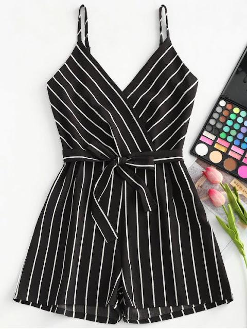 Striped Cami Belted Romper - Black S