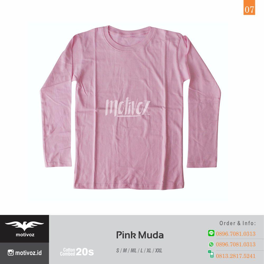 Katalog Kaos Polos O Neck Lengan Panjang Dengan 23 Warna Favorit Size L Cotton Combed 20s 7 Pink Muda