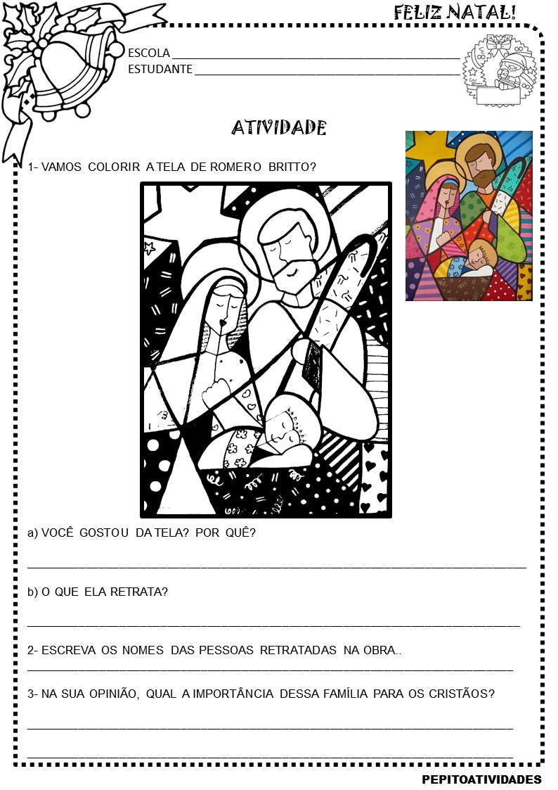 Atividade Artes Romero Britto Natal Cristao