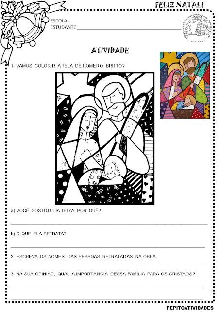 Atividade para o Projeto Natal - Nascimento de Jesus Romero Britto