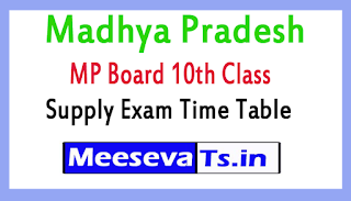 Madhya Pradesh HSC 10th Supply Exam Time Table Download 2017
