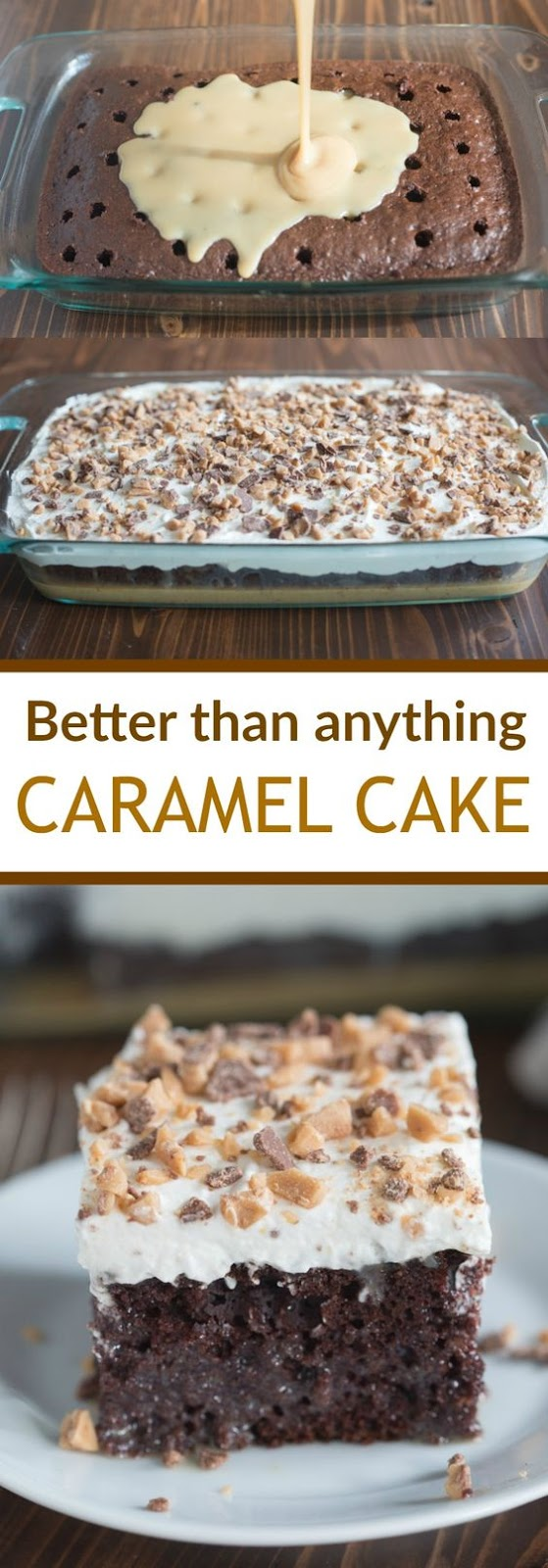 Better than Anything Cake (aka Better than Sex Cake) made with homemade caramel sauce and fresh whipped cream. This recipe is one of our favorite cakes, ever!