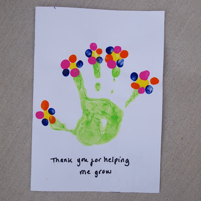 Easy handprint thank you for helping me grow cards for teachers at the end of term