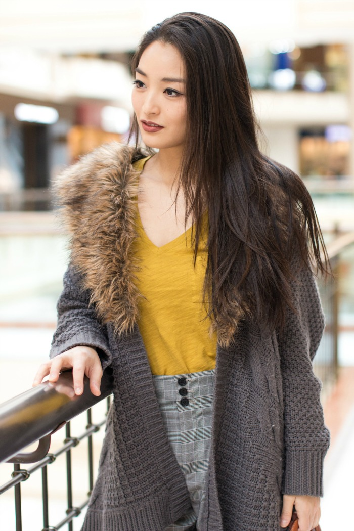 mustard top with faux fur cardigan