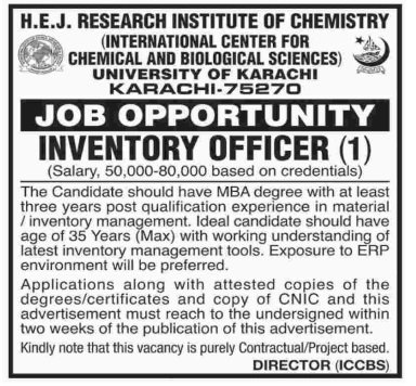 Inventory Officer jobs in International Center For Chemical