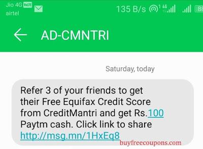 creditmantri referral sms
