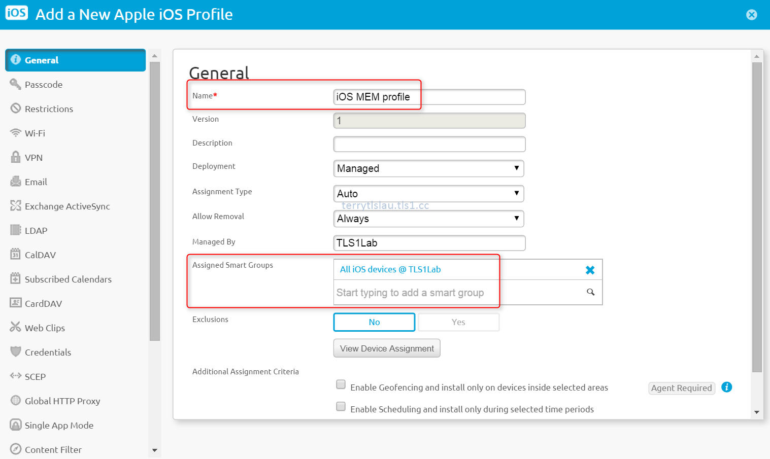 Terry L@u's blog: Configure AirWatch Mobile Email Management to