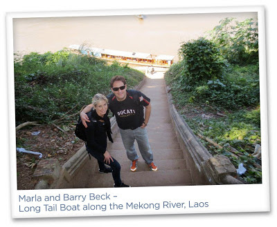 Marla Malcolm Beck and Barry Beck – Long Tail Boat along the Mekong River, Laos