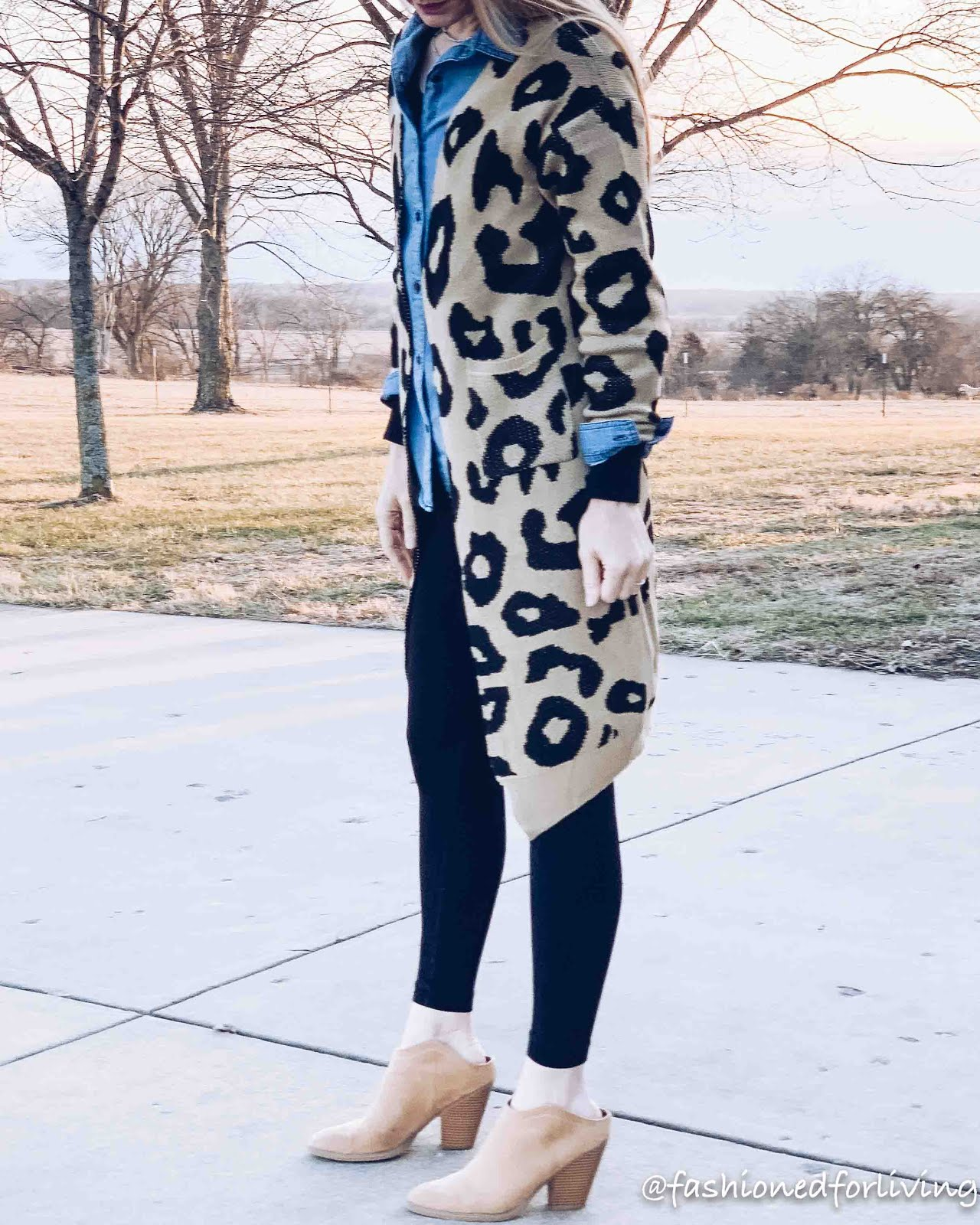 long leopard cardigan outfit with leggings, chambray shirt and mules