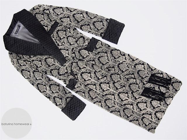 herren luxus hausmantel edler englischer morgenmantel gesteppt elegant exquisit schwarz seide baumwolle lang gefüttert warm