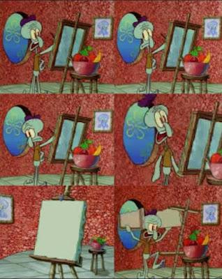Kumpulan gambar Polosan Meme Spongebob - Squidward di ganggu melukis