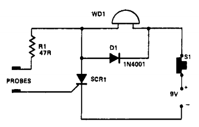 Simple Water-level indicator Circuit Schematic with