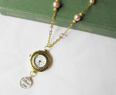 image beaded watch necklace gold pink anne of green gables anne shirley gilbert blythe two cheeky monkeys jewellery