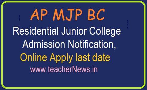 AP MJP BC Residential Junior College Inter Admission 2019 | Online Apply last April 14th, 2019
