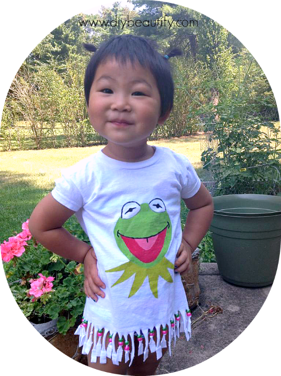 Kermit DIY tee with beads www.diybeautify.com