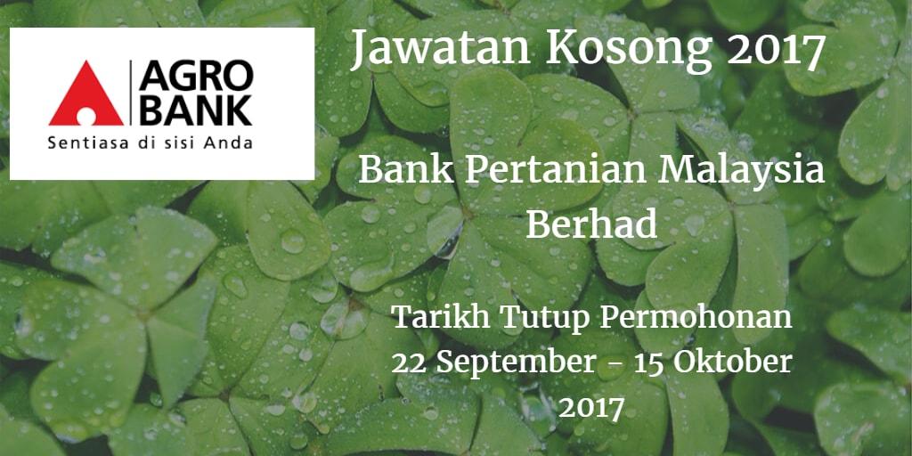 Jawatan Kosong Agrobank 22 September - 15 Oktober 2017
