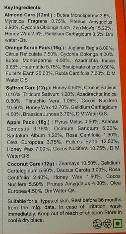 ingredients in natures facial kit