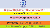 Gujarat High Court Recruitment 2018 – 24 Driver