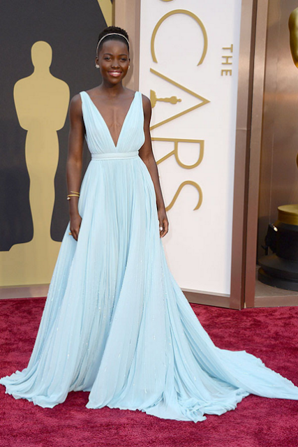 Lupita Nyong oscar red carpet prom dress
