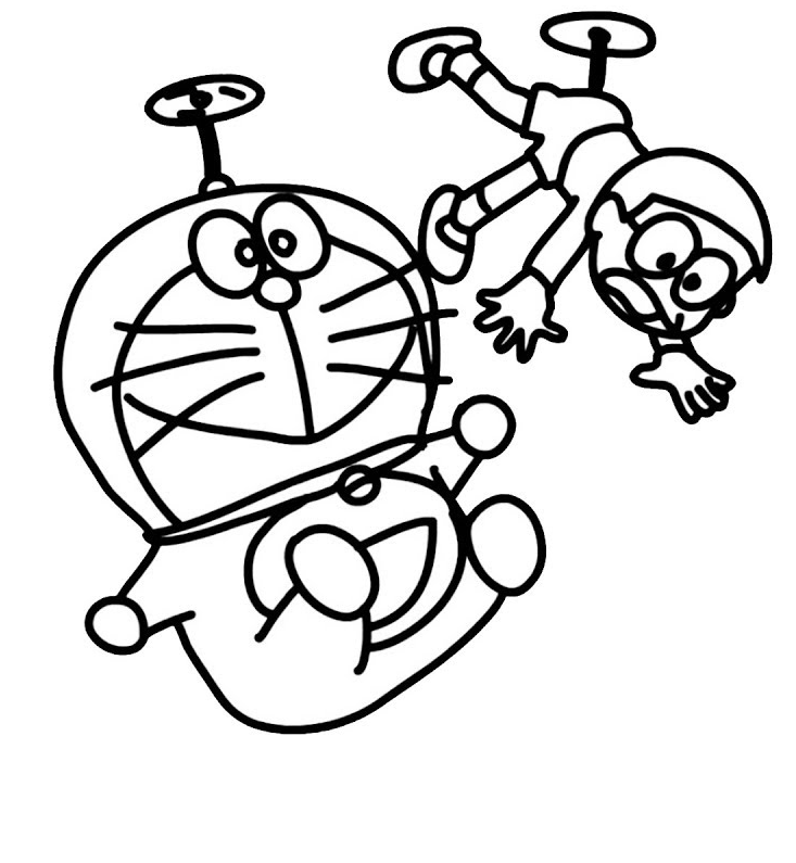 Kumpulan Sketsa Gambar Mewarnai Hitam Putih Kartun Nobita Doraemon