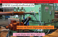 Heavy Engineering Corporation Recruitment 2017– 100 Diploma Engineer