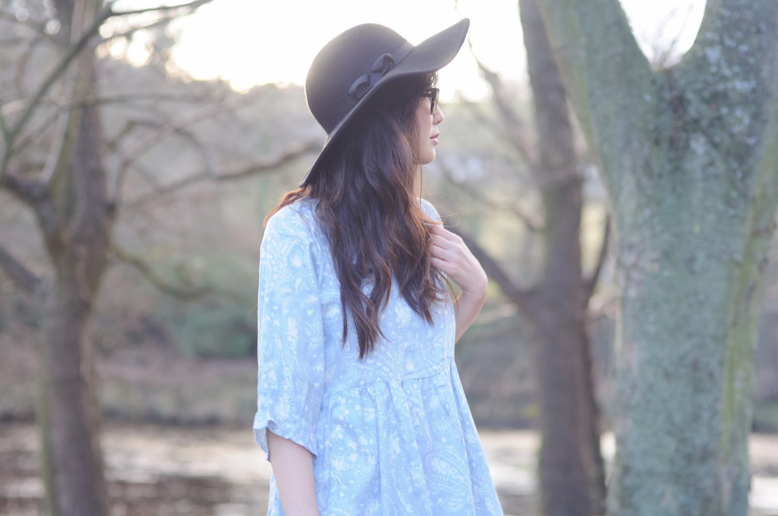 Blue paisley smock dress