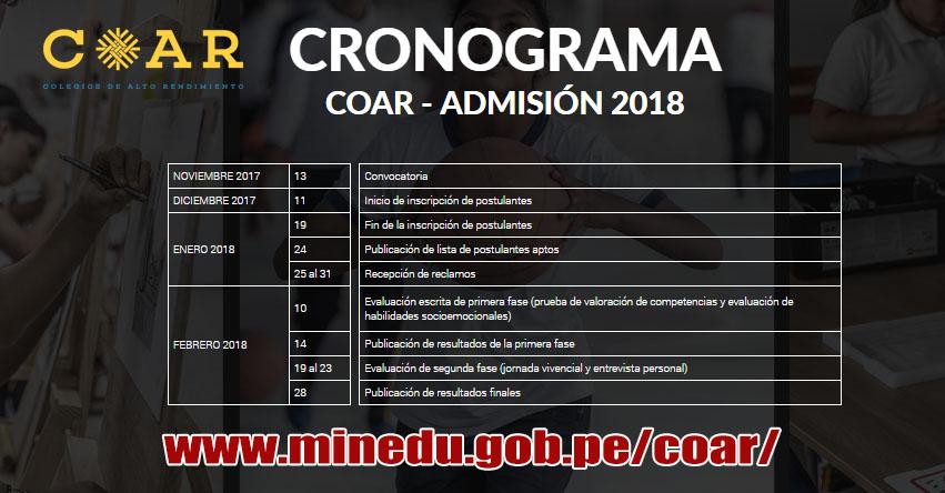 COAR: Cronograma Admisión 2018 (Inscripción hasta 19 Enero) MINEDU - www.minedu.gob.pe