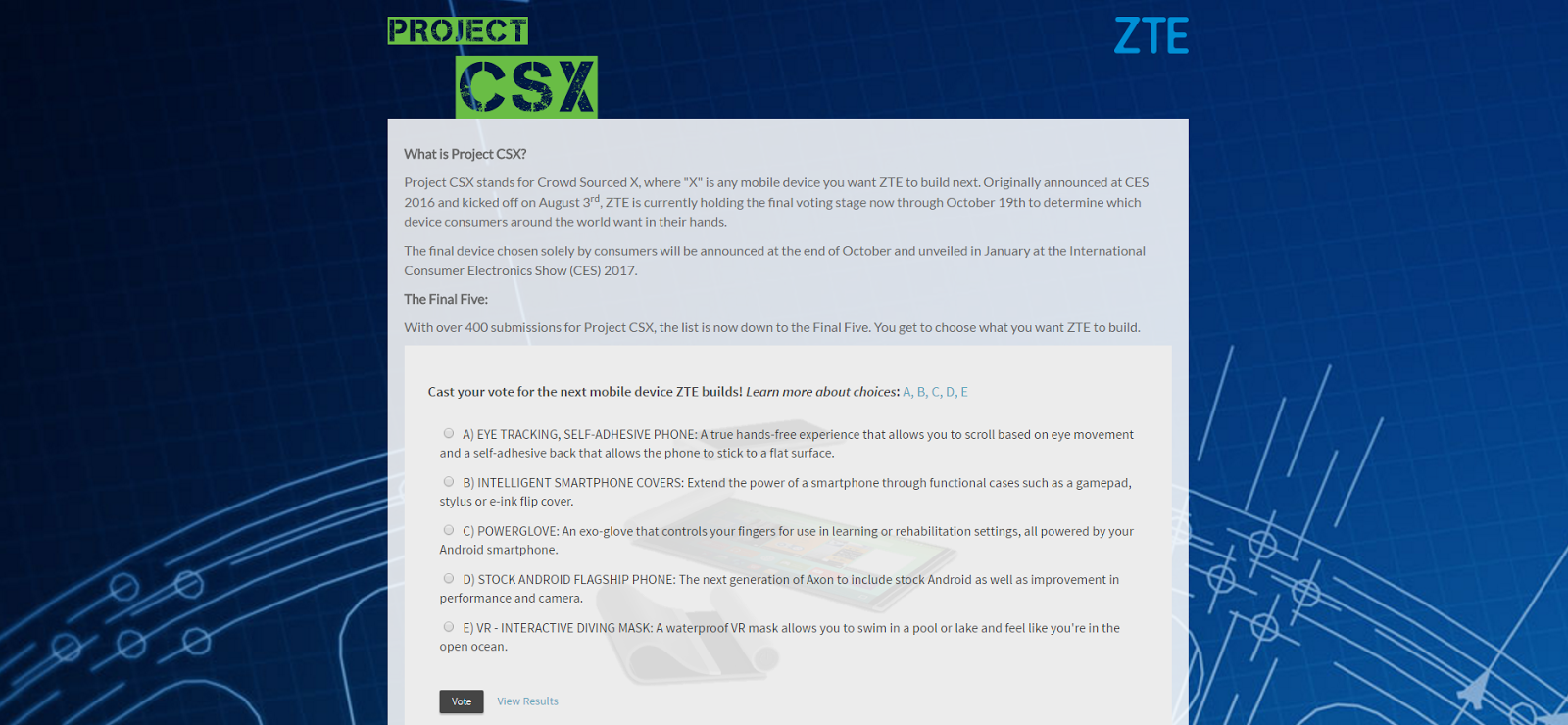 ZTE's Project CSX has narrowed to just 5 finalists ~ Android Coliseum