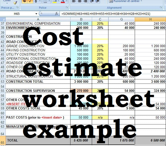 Cost Estimate Worksheet Example Civil Engineering Program