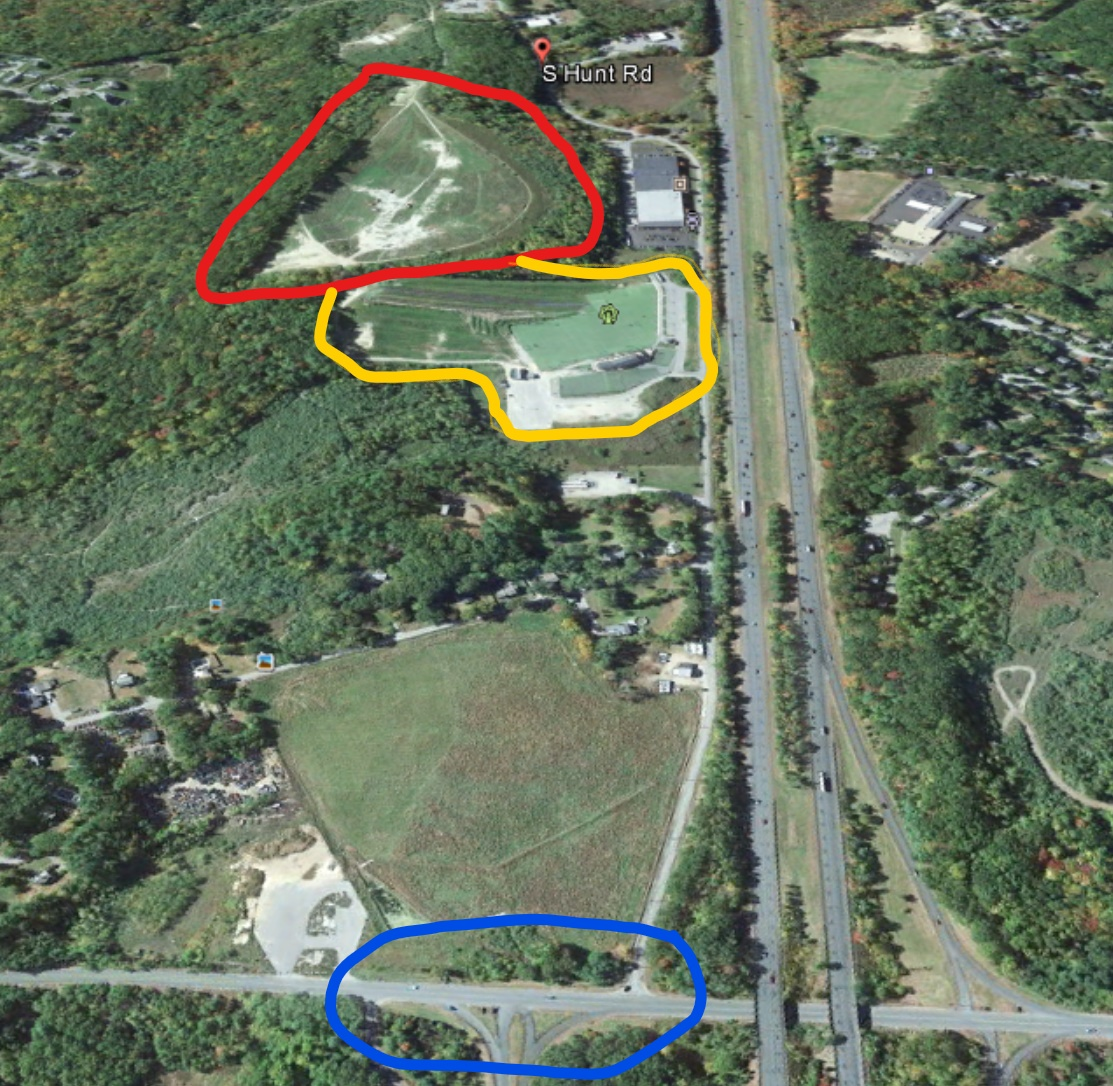 the ice rink lot is circled in red for reference the sports park is circled in yellow and the outlet of s hunt road onto rt 150 including the on off