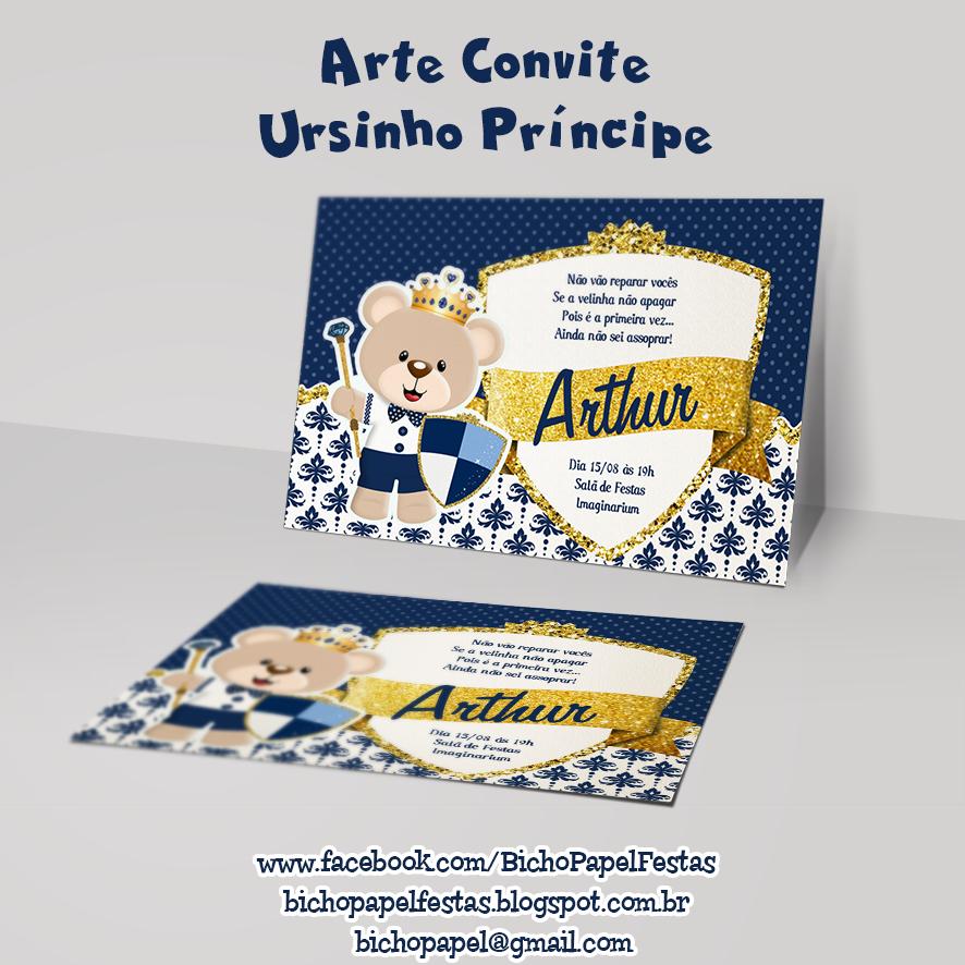 Bicho Papel Arte Convite Ursinho Príncipe Azul Marinho E Dourado