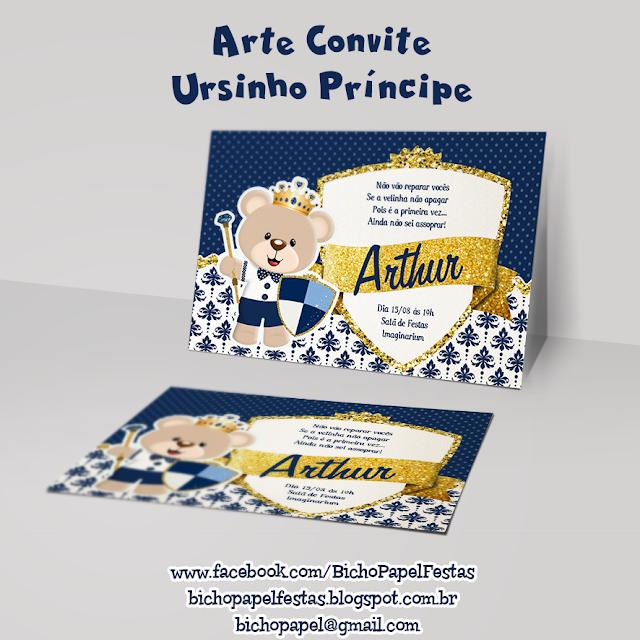 Arte Convite Ursinho Príncipe Azul Marinho e Dourado